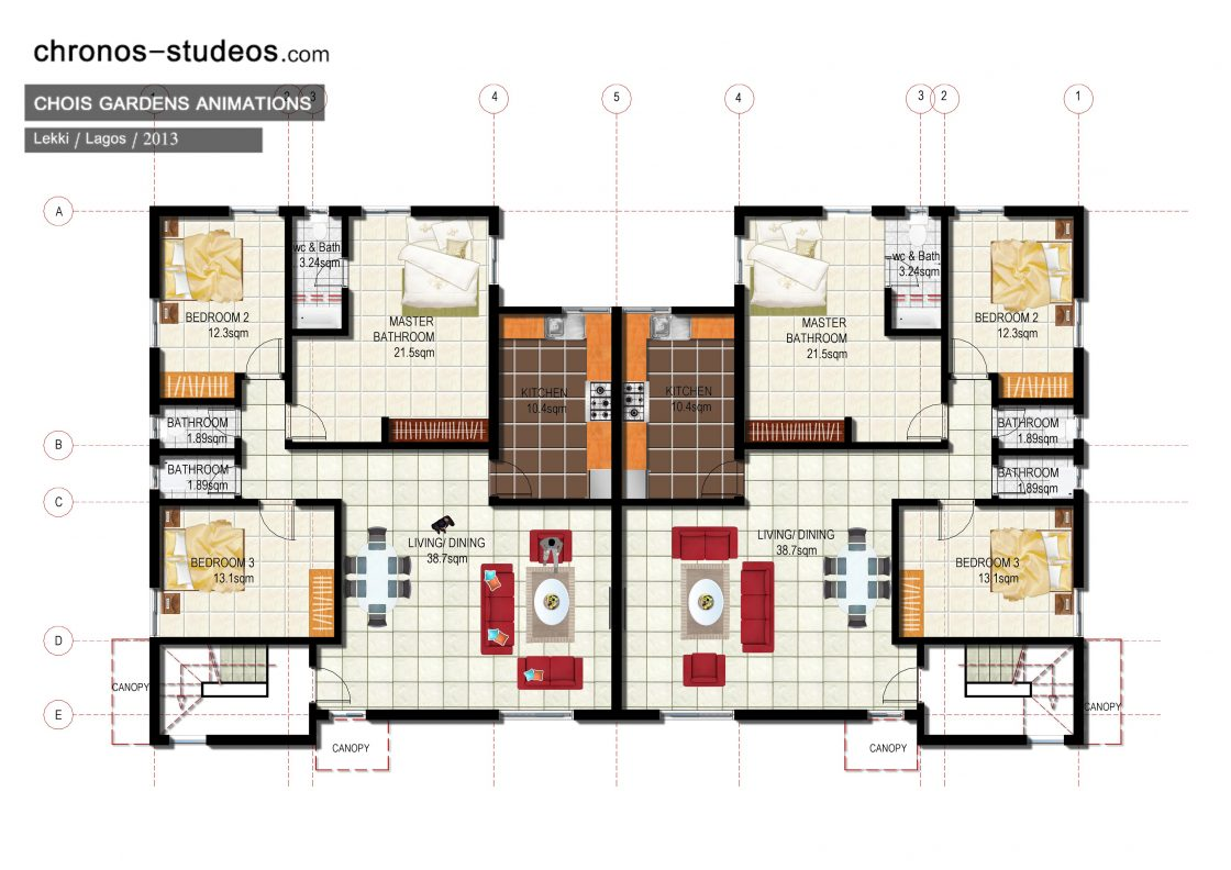 2d rendered floor plans for presentation 1 chronos studeos for Floor plans presentation