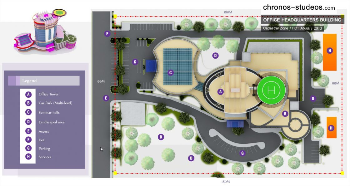 office building site layout plan 3d rendered