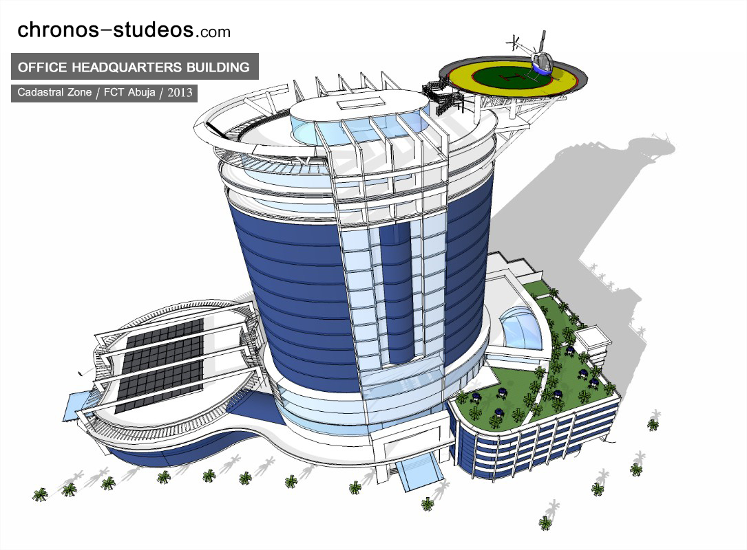 sketchup 3d render of office building architecture abuja nigeria
