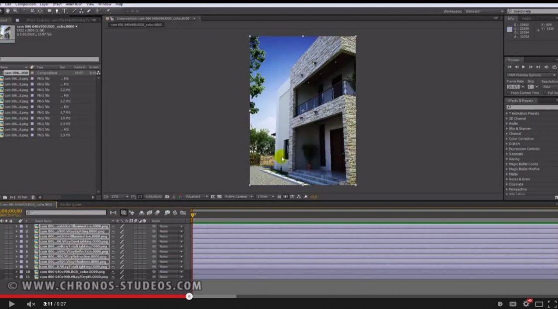 Chronos Studeos Tutorial Post rendering in After Effects 1