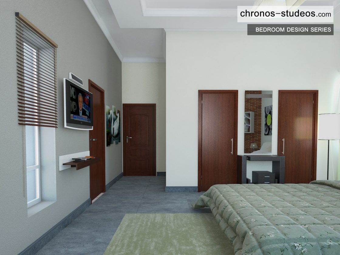 Modern bedroom 3d visualization by chronos studeos architects green and white colour scheme designing stylish