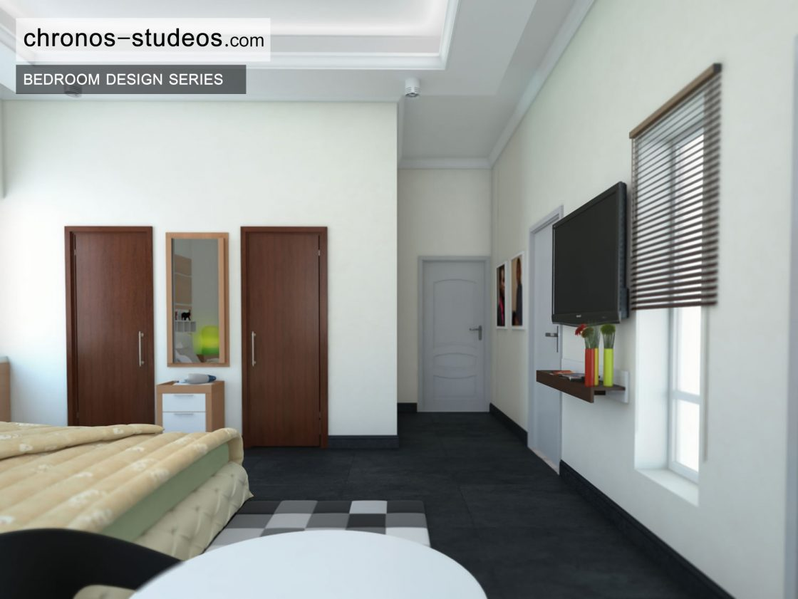 stylish bedroom 3d visualization by chronos studeos architects black and white colour scheme - 3d Design Bedroom
