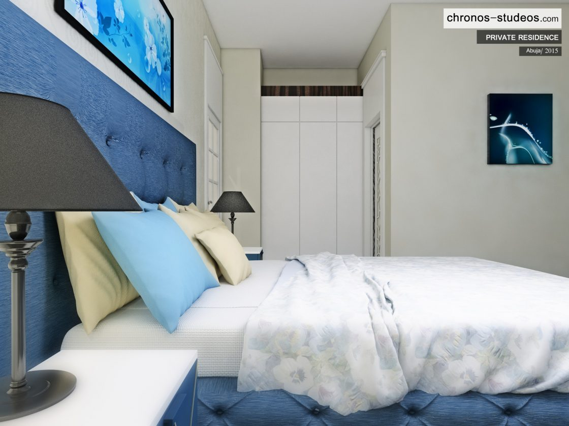 Chronos Studeos Architectural 3D Render Abuja Private Residence Luxury Stylish Blue Bedroom Interior Design Nigeria Africa