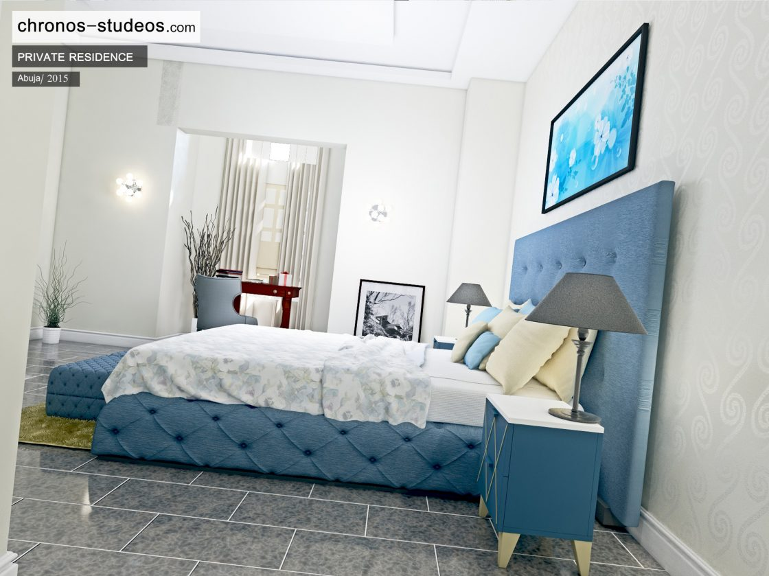 Chronos studeos top quality visualizations and designs abuja nigeria luxury blue colour scheme bedroom interior design