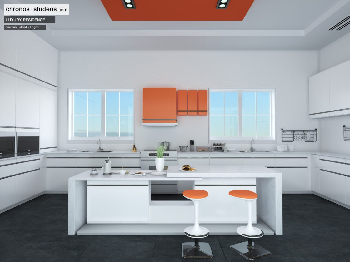 Making of a contemporary kitchen white for 3d view of house interior design
