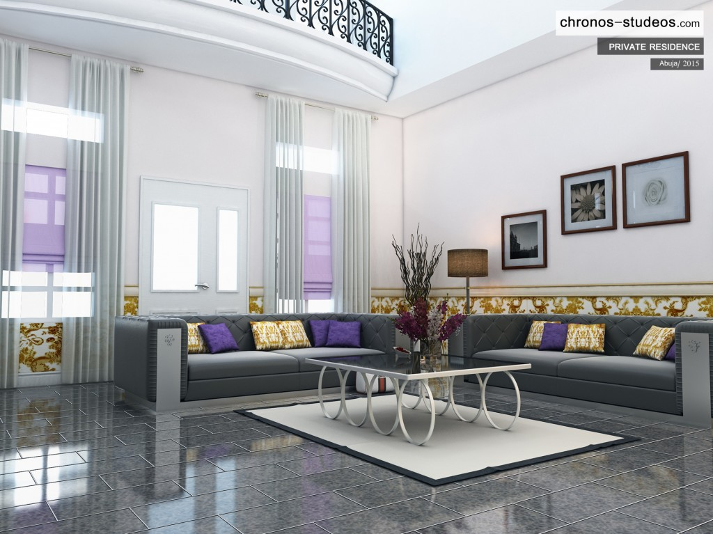 Chronos Studeos Architecture Firm Nigeria 3D Render Abuja private residence main lounge interior design