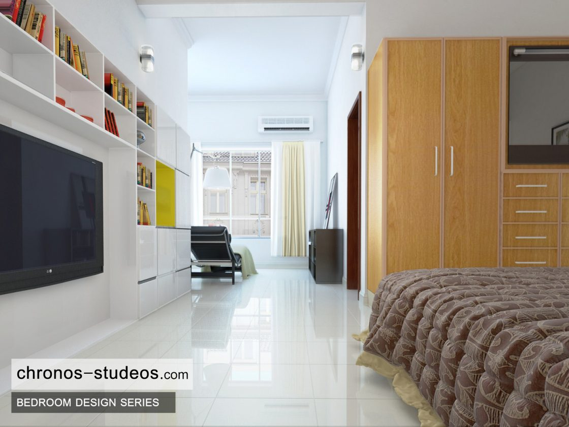 Modern bedroom 3d visualization by chronos studeos for Bedroom marble flooring designs