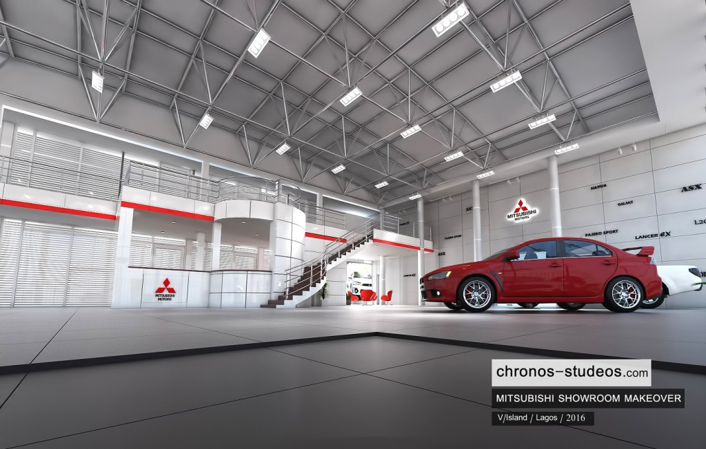 3d rendering mitsubishi showroom lagos interior design by chronos studeos architects nigeria