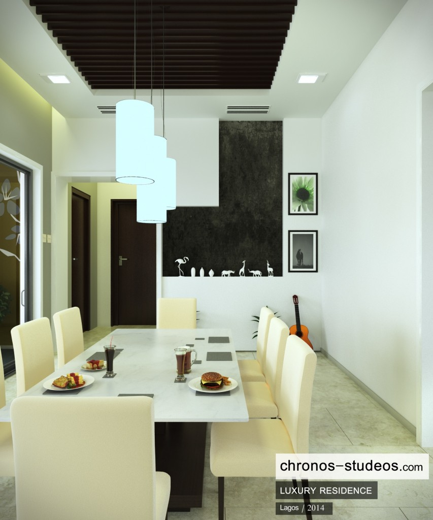 chronos studeos dining room interior rendering wood slats